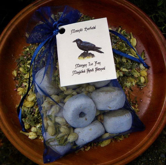 Morgan Le Fay Spell Stones with Labradorite - Bag of 10 - Transformation, Spirit Contact, Faerie Magick, Croning Rituals, Raven Totem