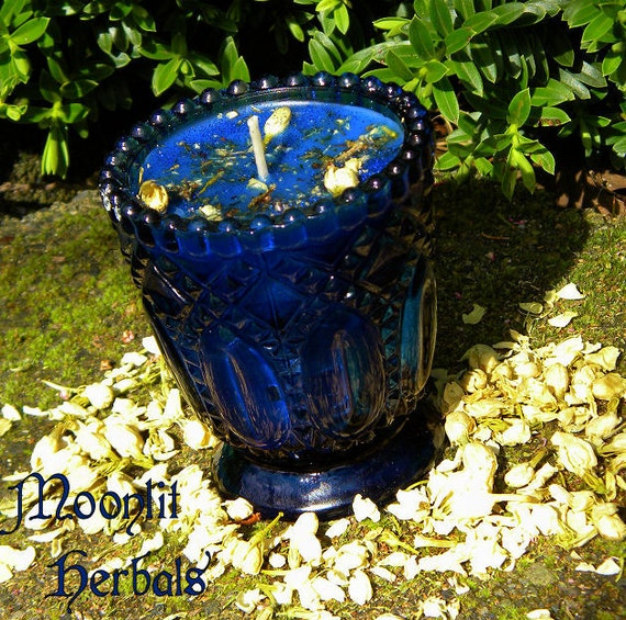 Morgan Le Fay Magickal Spell Candle - Transformation, Spirit Contact, Faerie Magick, Croning Rituals, Raven Totem, Avalon Goddess