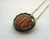 Vintage Libra Zodiac Sign Intaglio Charm Necklace