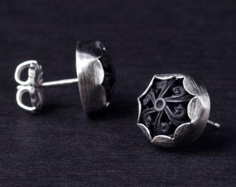 Little Black Scroll Sterling Silver Button Stud Earrings