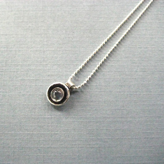 Moonstone Birthstone Charm Necklace - Sterling Silver Itty Bitty