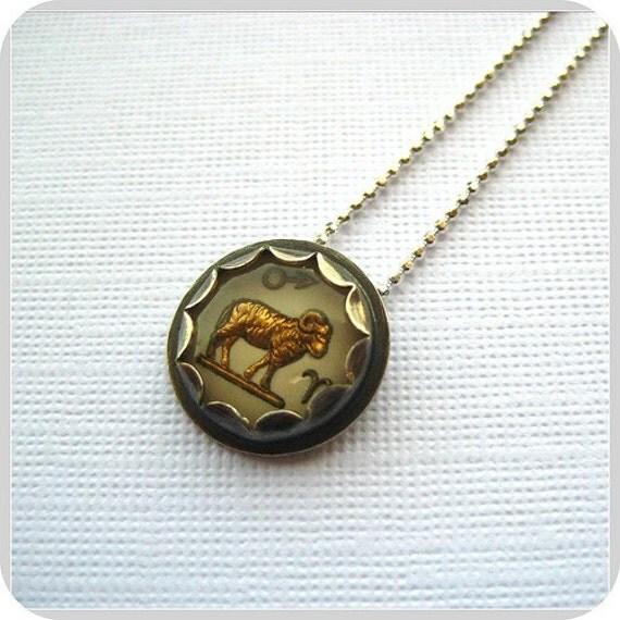 Vintage Aries Zodiac Sign Intaglio Charm Necklace (Ready to Ship)
