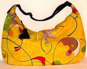 Large Zipper Bag - Yellow with Mod Design