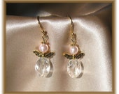 Petite and Dainty Angel Earrings with Pearls and Crystals