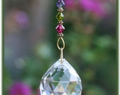 Suncatcher with Beautiful Asfour 30mm Crystal Ball and Swarovski Crystal Beads,Handmade Hanger, Unique Gifts