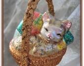 Christmas Ornament with Cute Kitty Sleeping in Basket with Swarovski Crystal Handmade Hanger