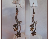 Gorgeous Bronze Flower Earrings with Swarovski Crystals