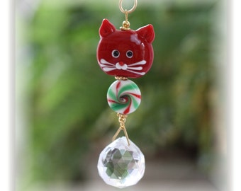 Cute Christmas Kitty Suncatcher/Christmas Ornament with 20mm Austrian Crystal Ball and Handmade Hanger, Car Mirror Ornament, Unique Gifts