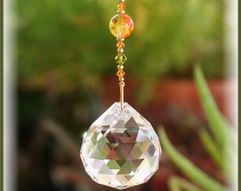 Gorgeous Green Orange Swarovski Bead Suncatcher made with Handmade Hanger and Huge 40mm Austrian Crystal Ball with Handmade Hanger