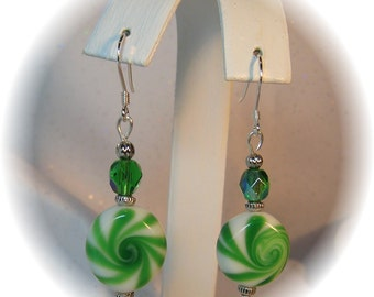 Handmade Green Swirl Peppermint Candy Earrings