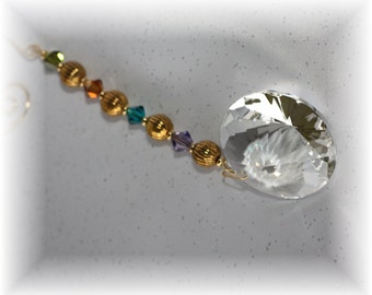 Suncatcher with Swarovski Beads and Large Sparkly 40 Austrian Crystal Prism with Handmade Hanger