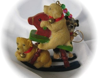 Doggies on Rocking Horse Vintage Christmas Ornament With Handmade Hanger