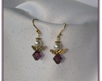 Delicate Angel Earrings with Pearls and Swarovski Crystal Beads
