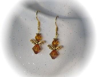 Dainty Angel Earrings with Swarovski Topaz Crystal Beads