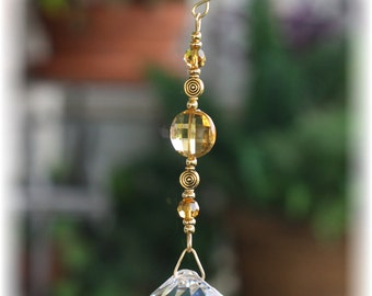 Beautiful Suncatcher with Swarovski 8mm Round Topaz Beads and HUGE 40mm Austrian Crystal Ball Prism with Handmade Hanger, Unique Gifts