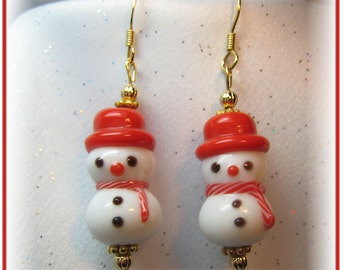 Christmas Earrings White Snowmen with Peppermint Striped Scarf and Red Hat Earrings