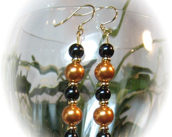 Handmade Glass Bronze and Black Swarovski Pearl Earrings
