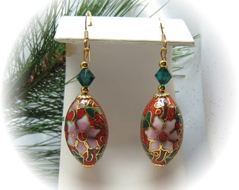 Red, Pink and Green Flowered Japanese Tensha Focal Bead Earrings
