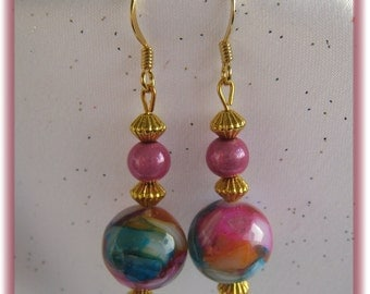 Pretty Multi-Color Mother of Pearl Earrings
