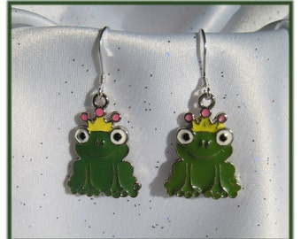 Adorable Sterling Silver Green Frog Earrings, Whimsical, Unique Gift