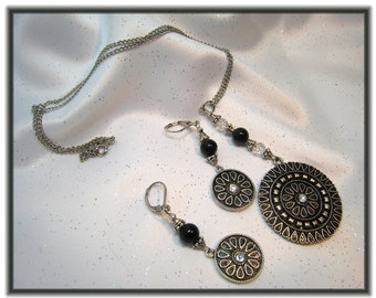 Necklace and Earrings Matching Set Round Metal Flower Design Disc with Swarovski Crystals