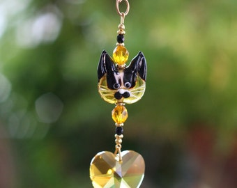 Cute Topaz Kitty Suncatcher with 28mm Swarovski Crystal Heart/Handmade Hanger