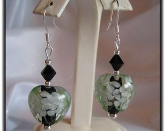 Heart Shaped Handmade Glass Lampwork Earrings