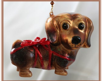 VERY Cute Blown Glass Brown Dachshund Dog Christmas Ornament with Handmade Hanger,Unique Gifts, Dog Lover Gifts, LAST ONE