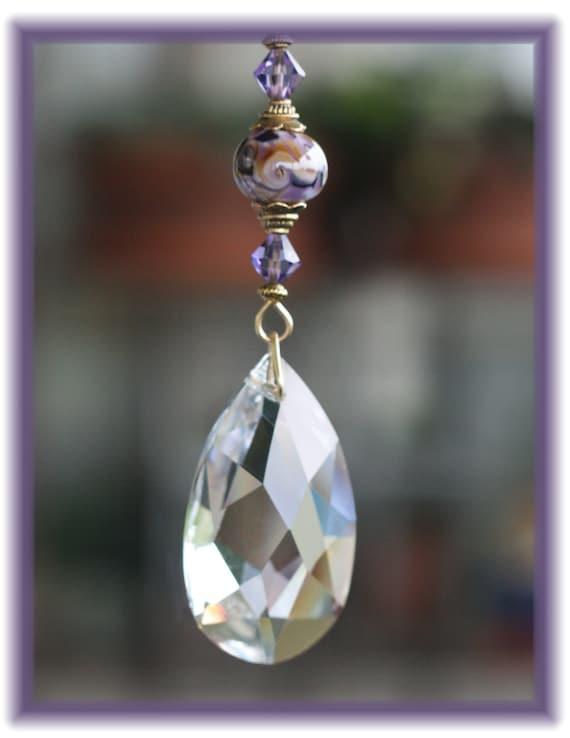Suncatcher with Handmade Lampwork Bead and Swarovski Tanzanite Beads and Vintage Crystal Teardrop Prism