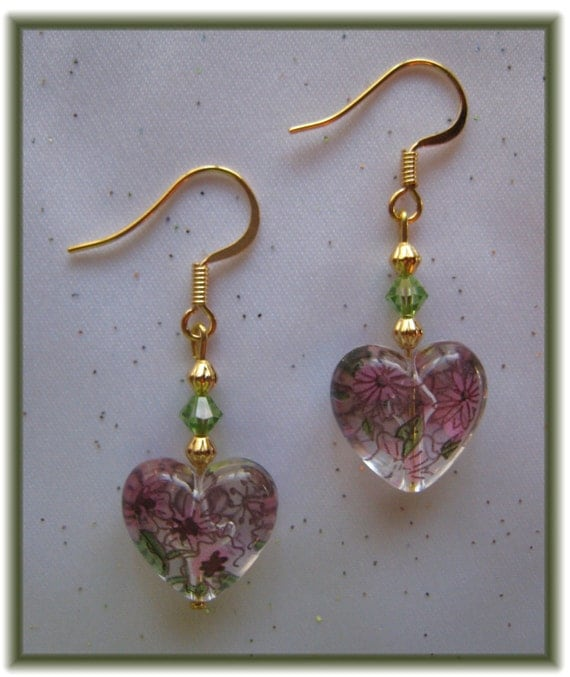 Pink Flowered Heart Drop Earrings with Swarovski Crystal Beads