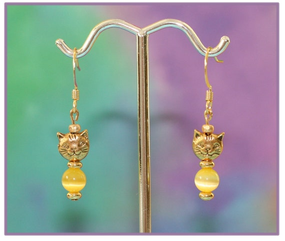 Earrings with Gold Cat Face and Yellow Cats Eye Beads