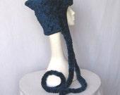 Ecofriendly Fur Hat Scarflette Vegan Ear Flap Soft Fleece Lined Free Size (605)
