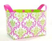 Fabric Organizer Bin . . . Preppy Pink and Green Damask