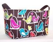 SALE . Reversible Fabric Organizer Bin . . . Love Birds . was 20