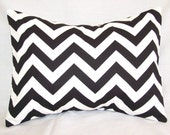Decorative Pillow Covers - Black & White Chevron Zig Zag . 12 x 16 Cushions Covers