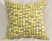 Decorative Pillow Covers -  Dijon Mustard Yellow & Gray Martini Dots -18 x 18 Accent Cushions - Home Nursery Decor