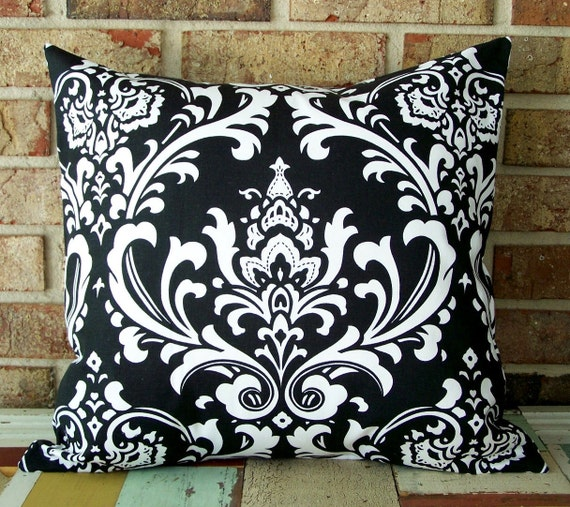 Decorative Pillow Cover Black Damask 18 X 18 Accent Cushion