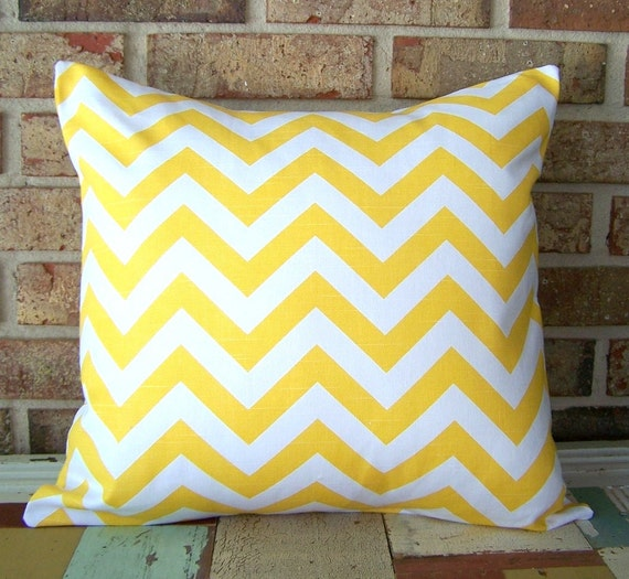 2 Decorative Pillow Covers - Yellow Chevron Zig Zag - 18 x 18 Cushions