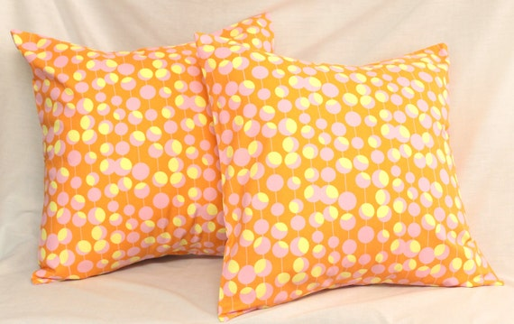 CLEARANCE SALE : 2 Decorative Pillow Covers -  Tangerine Orange Dreamsicle Martini Dots .18 x 18 Accent Cushions