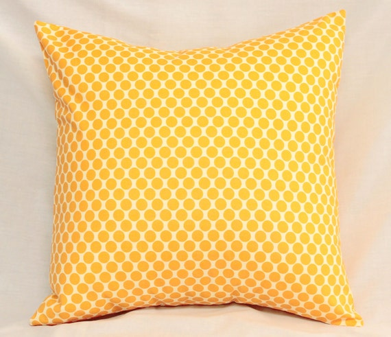 Decorative Pillows Cushions Cover . Tangerine Tango Orange Dots . 18 x 18 Accent Throw Pillow