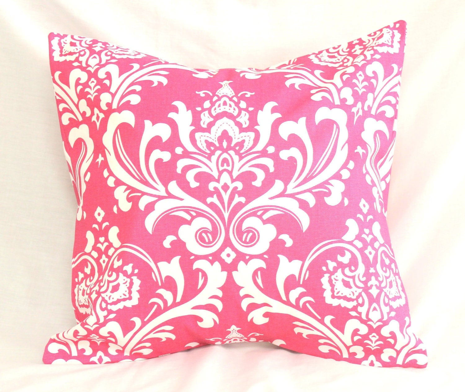 decorative pillow cover preppy hot pink damask 18 x 18. Black Bedroom Furniture Sets. Home Design Ideas