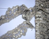4 yards re-embroidered beige and black lace x 3/4 inches