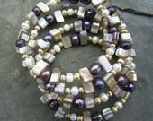 Sunset Beach - Freshwater Pearl and Shell Wrap Bracelet OOAK