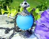 Night Wisp Inspired Pendant Necklace, Fairy Bottle Style Necklace, White, Blue, Pale Pink, Potion Bottle Necklace, Fairy, Fantasy, Magic