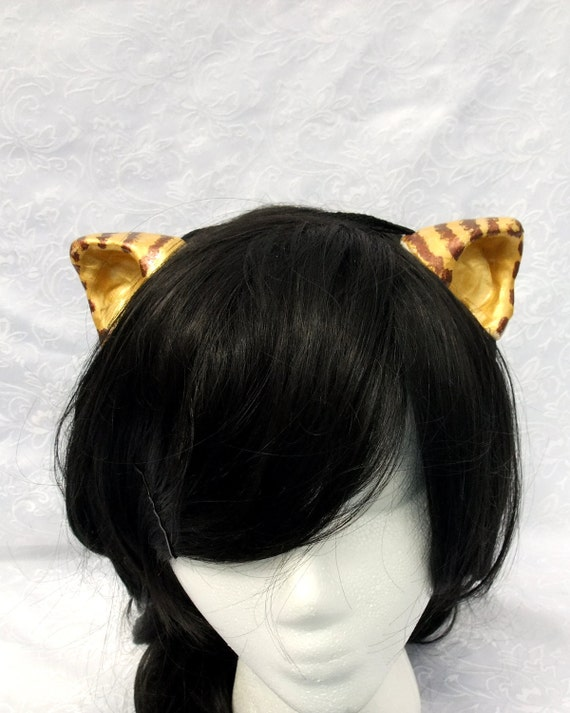 Gold Cat Ears, Costume Cat Ears, Gold and Copper, Tabby Cat, Cosplay Cat Ears