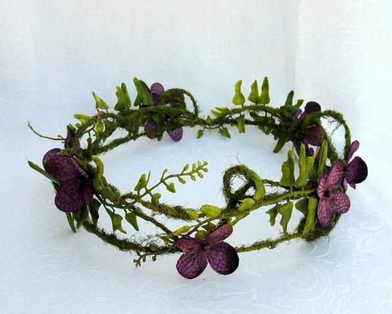 Woodland fairy Crown, Moss and Hydrangea Circlet, Purple Hydrangea Blossom and Moss Vine Crown