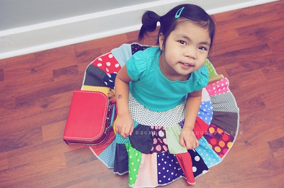 The MUST HAVE - polka dots swirl patchwork tier toddler girl skirt  2T - 5T