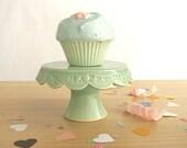 CUPCAKE STAND SALE - Tiny Happy Birthday Cake Plate - Green