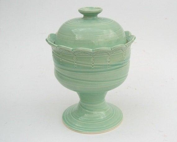 SALE - Candy jar... in green.