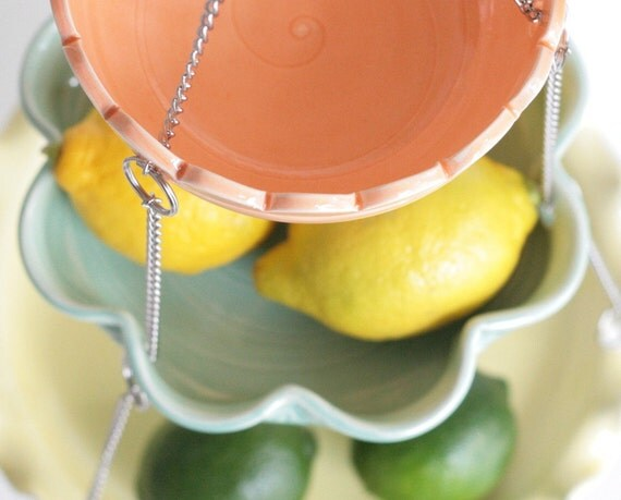 Hanging Kitchen Basket - Set of 3 with UnMatchy edges - MADE TO ORDER - Citrus Colors